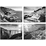 B&W Beach Wall Art - 11x14 Inch Photos - Set of Four - ''California Coast Beaches'' by TravLin Photography