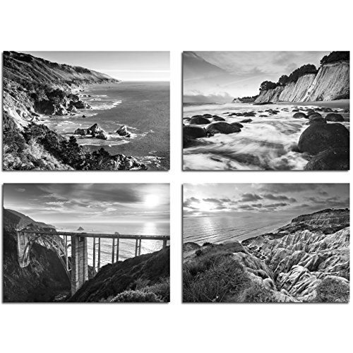 B&W Beach Wall Art - 11x14 Inch Photos - Set of Four - ''California Coast Beaches'' by TravLin Photography by TravLin Photography