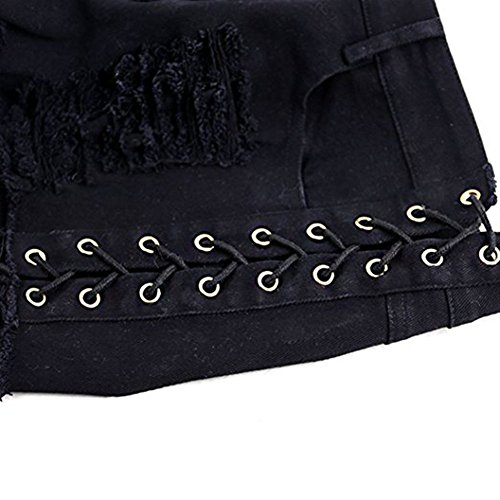 Women's Destroyed Ripped Hole Denim Shorts Sexy Short Jeans Side Straps Mini Hot Pants Clubwear (Black, M) by Olyha (Image #3)
