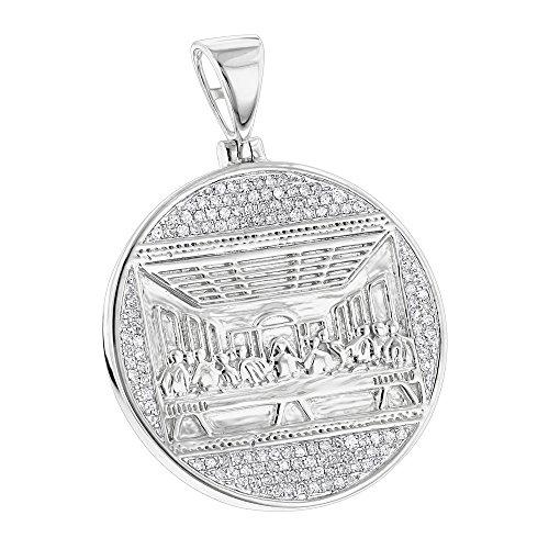 Luxurman 10K Last Supper Natural 0.5 Ctw Diamond Pendant For Men Medallion (White Gold) by Luxurman