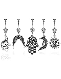 Tribal Set Belly Button Rings 5 Pieces Dangle Belly Button Rings Lot 14G