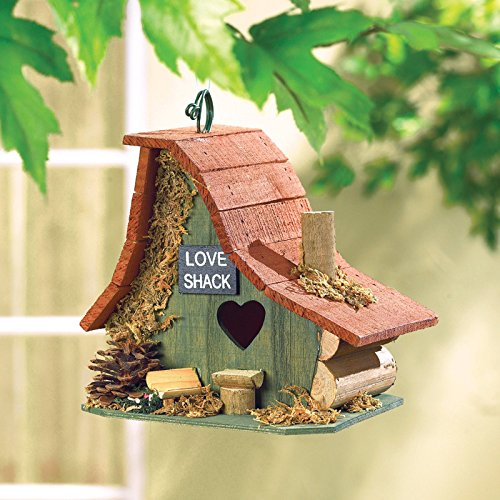 Hot Sale! BIRDHOUSE: Rustic Love Shack Wood Cabin Bird House NEW