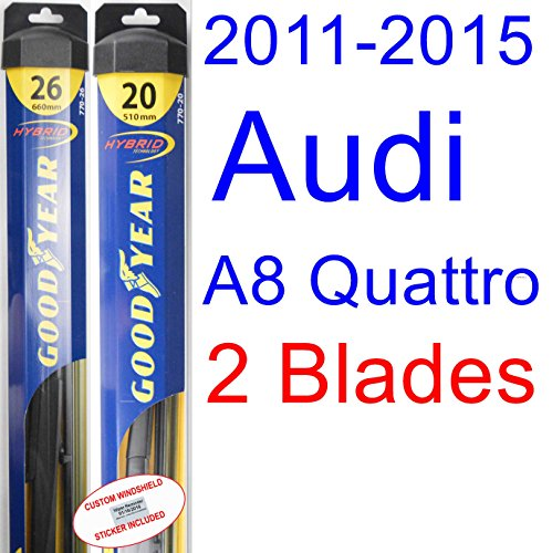 2011-2015 Audi A8 Quattro Replacement Wiper Blade Set/Kit (Set of 2 Blades) (Goodyear Wiper Blades-Hybrid) (2012,2013,2014) (A8 Set Audi)