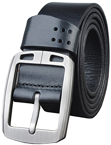 QISHI YUHUA PD Men's Casual Black Deluxe Genuine Leather Belt