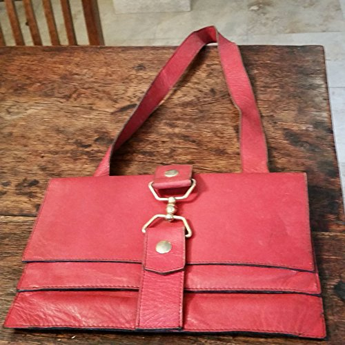 VINTAGE ORIGINAL '70 RED ITALIAN LEATHER POCHETTE