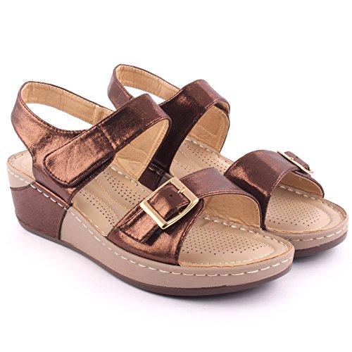 Zapatos beige oficinas Unze London para mujer 4VEq9C