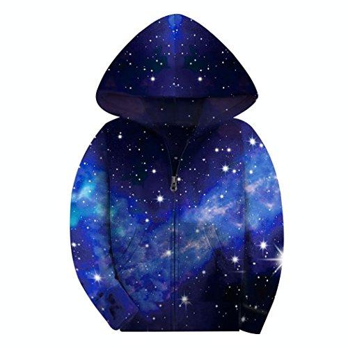 COIKNAVS Girls' Teen Galaxy Fleece Zip up Pockets Warm Seweathirts Hoodies NO6 S by COIKNAVS