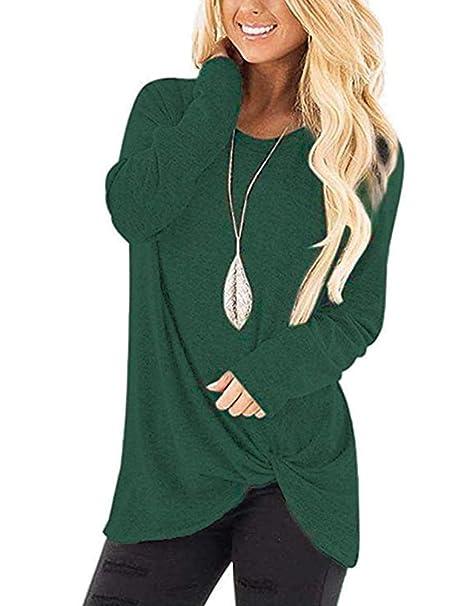 Amazon.com: Jug&Po blusa de punto con nudo suave para mujer ...