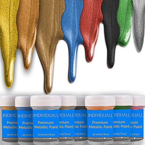 individuall Premium Metallic Acrylic Paint Set 8 Professional Grade Metallic Paints Art Supplies Made in Germany Craft Acrylic Paint Set with Metallic Effect Canvas Painting 8 x 20 ml 0.7 fl oz