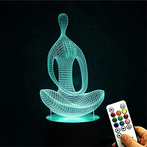 Deerbird Yoga Meditation Style 3D Abstract Visual Optical Illusion 7 Colors Gradient Remote Control USB Table Lamp Nightlight with Elegant White Base for Living Room Decoration Mother Day - Styles Optical