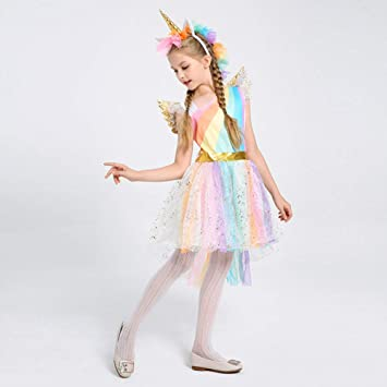 4f77d582985e2 ハロウィン 衣装 子供 ユニコーン 可愛い ワンピース コスプレ衣装 コスチューム 演出服 仮装 パーティーグッズ カチューシャ付き