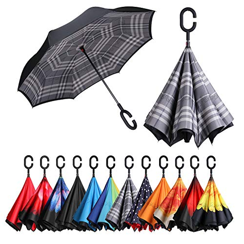 (BAGAIL Double Layer Inverted Umbrellas Reverse Folding Umbrella Windproof UV Protection Big Straight Umbrella for Car Rain Outdoor with C-Shaped Handle(Grid))