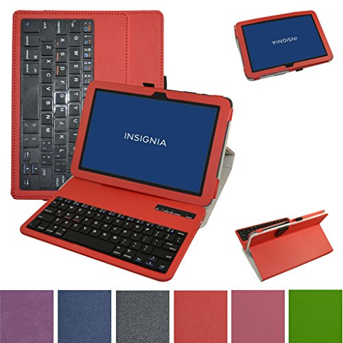 Insignia NS-P10A7100 Keyboard Case,Mama Mouth Slim Stand PU Leather Case Cover With Romovable Bluetooth Keyboard For 10.1
