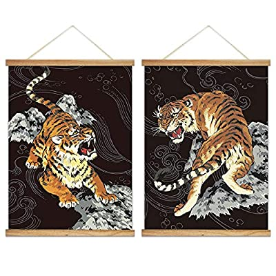 Decorative Ink Style Tigers - 2 Panel Hanging Poster