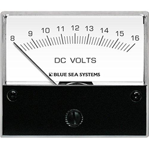 Blue Sea 8003 DC Analog Voltmeter - 2-3/4 Face, 8-16 Volts DC Marine , Boating (Blue Sea 8003 Voltmeter)