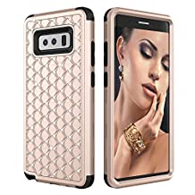 Samsung Galaxy Note 8 Case, MCUK [Diamond Series] 3 in 1 High Impact Hybrid Armor Defender Silicone Rubber Hard Skin Case Cover for Samsung Galaxy Note 8 2017 (Gold+Black)