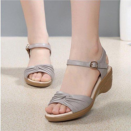 Sandalias Verano Mujer Zapatos Con Zapatos De Mujer Gris