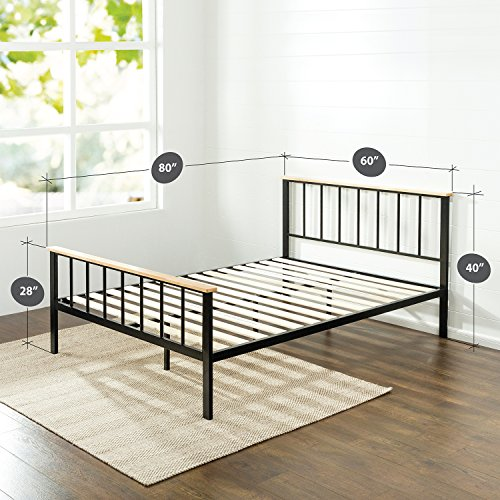 zinus contemporary metal and wood platform bed with slat support queen ebay. Black Bedroom Furniture Sets. Home Design Ideas
