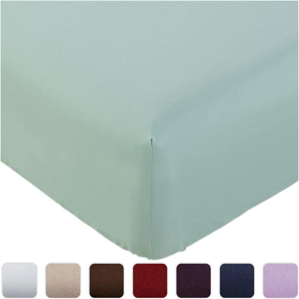 Fitted Sheet Queen White Brushed Microfiber 1800 Bedding - Wrinkle, Fade, Stain Resistant - Hypoallergenic (Spa Mint)