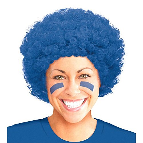 Amscan Curly Afro Wig (1 Piece), Blue, 11 x - 11 Wig