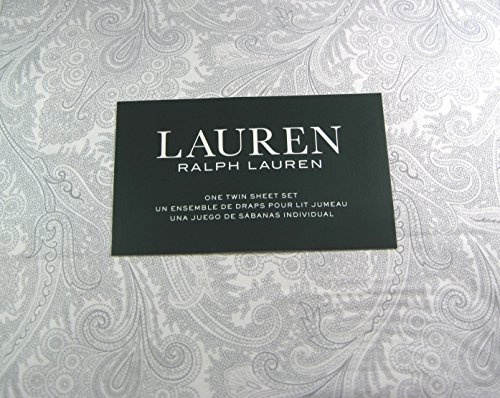 Lauren 3 Piece Twin Size Paisley Sheet Set Gray and White 100% Cotton