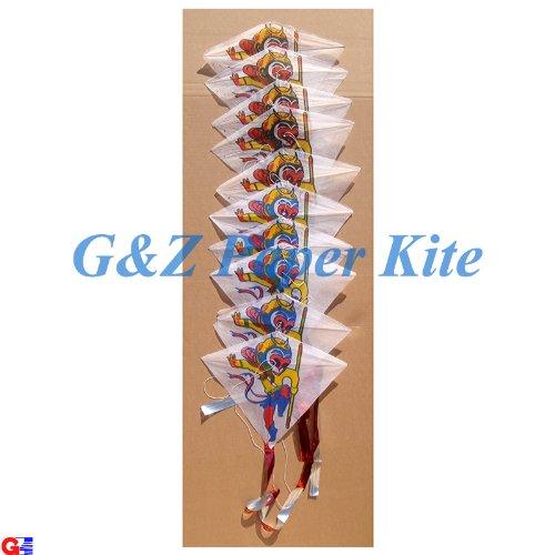 10 Mini Paper Kites on a String - Chinese Monkey King Train Kites