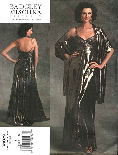(Vogue Sewing Pattern 1079 Misses Size 18-22 Badgley Mischka Formal Dress Evening Gown Stole)