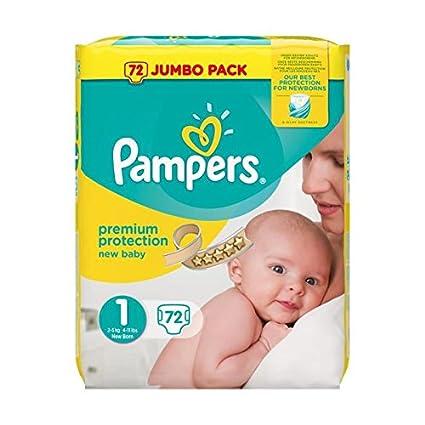 Pampers Caja de pañales jumbo para recién nacido, talla 1 – Paquete de 72 pañales