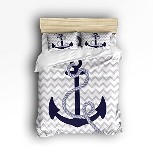 Vandarllin King Size Bedding Set- Navy Nautical Anchor with Grey White Zig Zag Chevron Pattern Duvet Cover Set Bedspread for Childrens/Kids/Teens/Adults, 4 Piece 100% Cotton