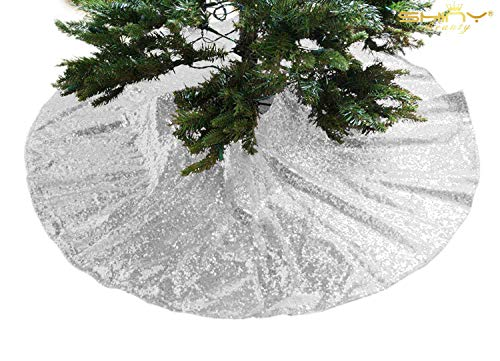 (Christmas Tree Skirt Silver-24Inch Tree Skirt Sequin Tree Skirt Silver Tree Skirt for Christmas Decoration )