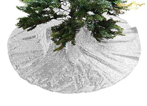 Christmas Tree Skirt Silver-24Inch Tree Skirt Sequin Tree Skirt Silver Tree Skirt for Christmas Decoration