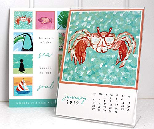 2019 Coastal Art Desk Beach Calendar with Frame by Lemondaisy Design