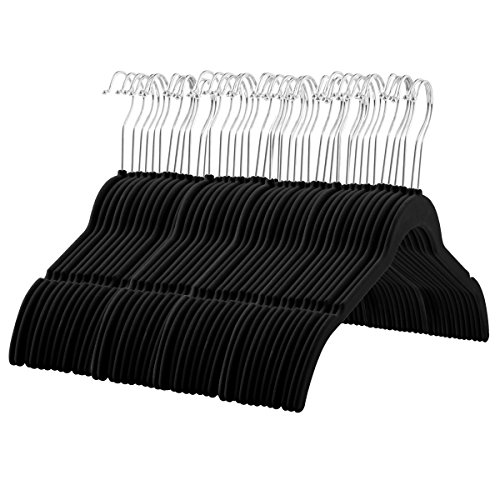 ZOBER 60 Pack, Premium Quality Space Saving Velvet Shirt Hangers Strong and Durable with 360 Degree Chrome Swivel Hook - Non Slip Dress Hangers with Contoured Shoulders and Notches for Straps, Black