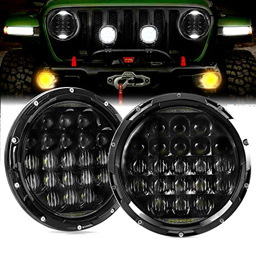 AAIWA LED Headlight for Jeep Wrangler, 7 Inch 105W LED Projector Headlight Round 5D Lens with DRL for Jeep Wrangler JK TJ LJ CJ Motorcycle