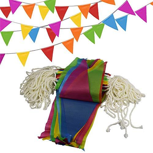 SIMUER Multicolor Bandera Banderín, 150 Nylon Bunting Bandera de Triángulo Decoración para Fiesta Gran Apertura de Fiestas y Picnic Patio 80m: Amazon.es: ...
