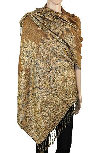 Achillea Luxurious Big Paisley Jacquard Layered Woven Pashmina Shawl Wrap Scarf Stole (Golden Brown)