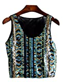 LRT Womens Sequins Embroidery Crop Top Multi Color Dancing Tank Top (Green)