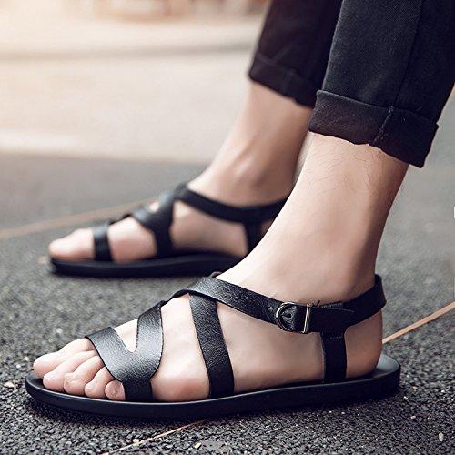 Xing Lin Sandalias De Hombre Verano Flip-Flop Hombres Británicos Sandalia Clip Nuevo Calzado Antideslizante Shoes Sandalia Fresco 43 Tendencias Moda Negro