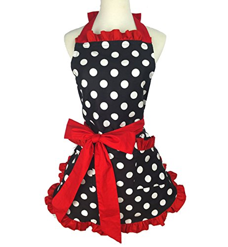 (Violet Mist Lovely Personalized Apron Stylish Retro Lacy Vintage Flirty Maid Polka Dot Cooking Kitchen Working Adjustable Apron with Pockets for Women Ladies (Red))
