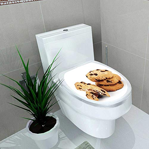 - Auraise-home Toilet Seat Sticker Oatmeal Cookies with Chocolate on White Waterproof Decorative Toilet Cover Stickers W15 x L17