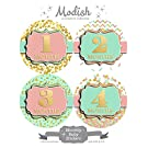 12 Monthly Baby Stickers, Gold Foil {Faux}, Pink, Mint, Girl, Baby Belly Stickers, Monthly Onesie Stickers, First Year Stickers Months 1-12, Hearts, Polka Dots, Baby Girl