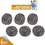Stainless Steel Scrubber for Kitchens Bathroom and More, Pack of 6 50g Steel Scourer Wire for Dish Bowl Cleaning Cast Iron Cleaner BBQ Grill Brush, Remove Grease Oil Dirt Stain without Scratch