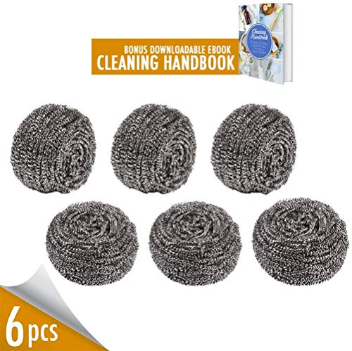 Duty Scrubber - Stainless Steel Scrubber for Kitchens Bathroom and More, Pack of 6 50g Steel Scourer Wire for Dish Bowl Cleaning Cast Iron Cleaner BBQ Grill Brush, Remove Grease Oil Dirt Stain without Scratch