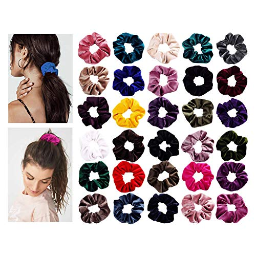 30 Pack Multicolor Soft Ouchless Thick Scrunchies for Hair Bobbie Ties Cotton Velvet Fabric Covered Scrunchy Hair Elastic Band Ponytail Holder Bows Set Accessories for Women Girl for $<!--$16.99-->