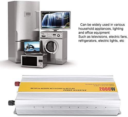 Wechselrichter,Inverter 2000 Watt Haushalts Sinus Wechselrichter DC zu AC Konverter 12 V zu 220 V Eu-stecker 110-240 V,Wechselrichter,50Hz / 60Hz / ± 4Hz,Sinus Energien-Inverter