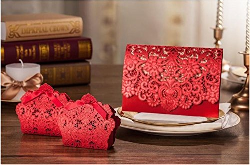 Graces Dawn 50pcs Red Lace hollow wedding invitation and 50pcs Red Ribbon Candy Boxes Gift Box