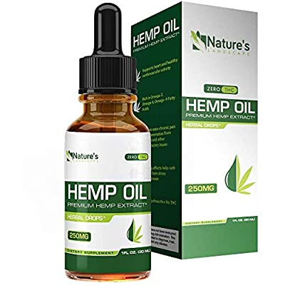 Hemp Oil for Pain Relief - Stress Support, Anti Anxiety, Sleep Supplements - Herbal Drops - Rich in MCT Fatty Acids - Natural Anti Inflammatory - 1 Fl Oz (30 ml) by Natures Landscape