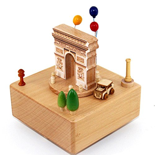 - YouTang Wooden Musical Box with Stop Device,Arc de Triomphe
