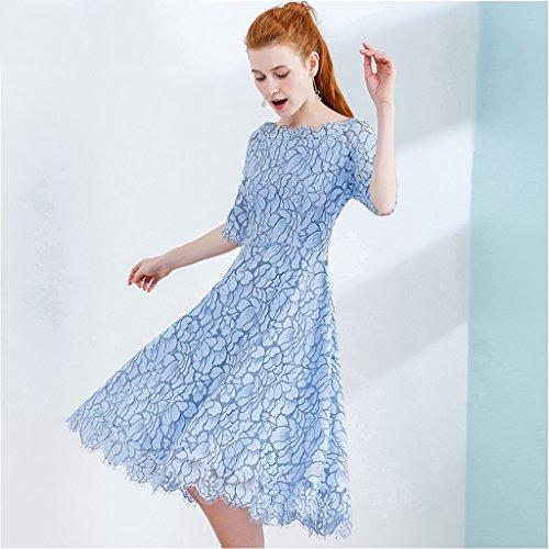 De Shop Collar Wei Falda Del Mujer Meng Moda Dulce Encaje Azul Temperamento Verano size Nueva M wIqfx1cgS