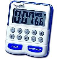 TFA Dostmann Elektronische timer en stopwatch, digitale korte tijdmeter, keukentimer, wit/blauw, 38.2010